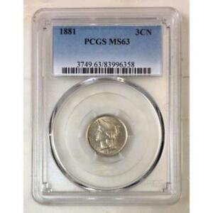 1881-Three-Cent-Nickel-PCGS-MS63-Rev-Tye-039-s-6358180