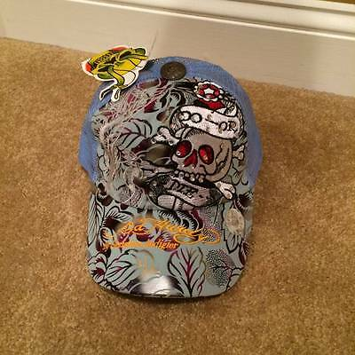 DON ED HARDY by Christian Audigier BLUE Trucker Mesh Snapback Skull Hat NEW!!!