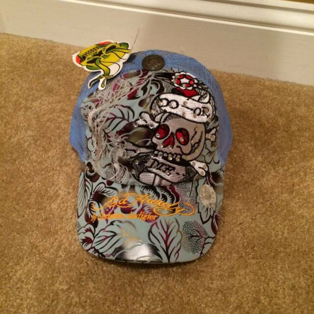 DON ED HARDY by Christian Audigier BLUE Trucker Mesh Snapback Skull Hat NEW!!!