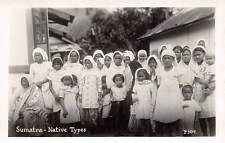SUMATRA, INDONESIA, NATIVE WOMEN & CHILDREN, C. P. SHIP LINE PUB RPPC c. 1930's