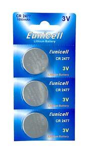 3-x-CR2477-3V-Lithium-Knopfzelle-1050-mAh-1-Blistercard-a-3-Batterien-Eunicell