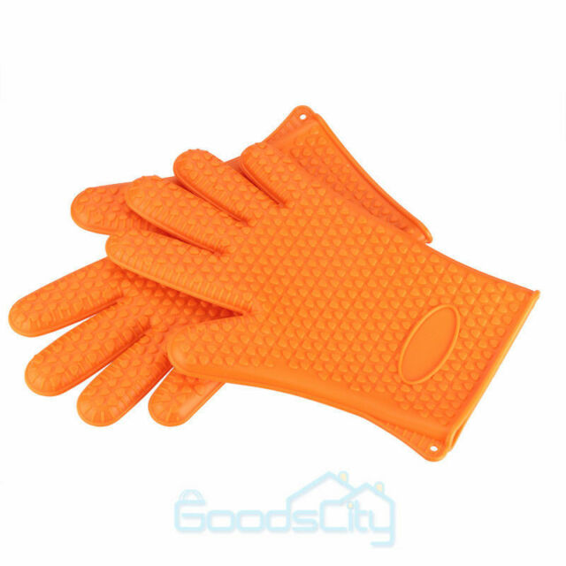 1pair Silicone Kitchen Glove Heat Resistant Oven Bbq Cooking Mitts Grill Gloves