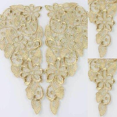 1 Pair Flower Motif Venise Lace Trims Applique Embroidery Sewing Craft Gold Tone