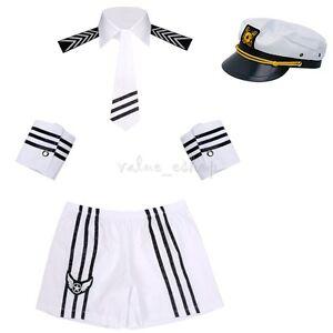 6c0cdb307d9 Details about Sexy Lingerie Navy Captain Costume Mens Sailor Uniform Fancy  Dress Party Cosplay