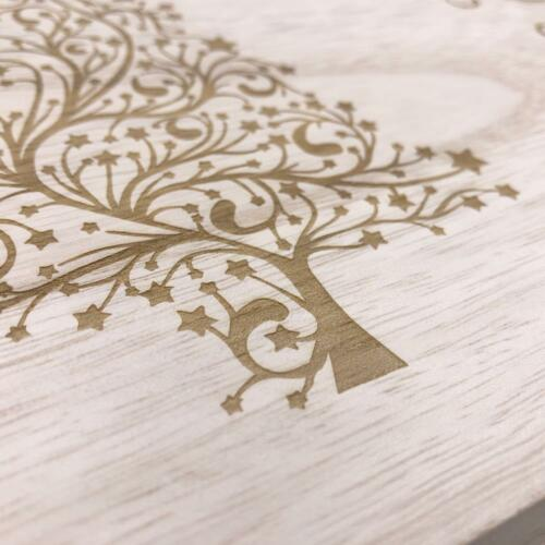 Swirly Tree Design Personalised Wooden Christmas Eve Box HB-44