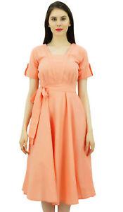 945b5a73101 Bimba Women Short Sleeve Peach Linen Shift Dress with Belt Casual ...