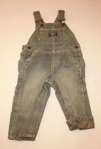 New OshKosh Boys Denim Blue Jean Overalls Hickory Stripe NWT 12m 24m 2t 3t 4t 5t