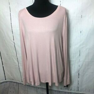 INC-International-Concepts-Womens-Blouse-Size-1X-Pink-Ribbed-Tshirt-Stretch
