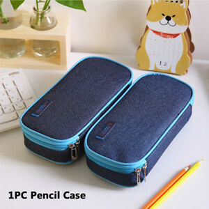 Durable-Student-Supplies-Denim-Canvas-Zipper-Large-Pencil-Case-Stationery-Bags-g