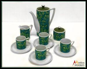 Vintage-60s-Mid-Century-Modern-Teal-Blue-Demitasse-Set-Coffee-Pot-Cups-Serves-4