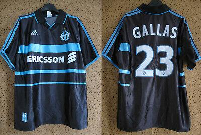 Maillot Olympique Marseille 1999 Adidas Gallas #22 Ericsson OM Vintage L   eBay