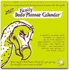DODO FAMILY PLANNER CALENDAR 2017 Month-to-view organiser-planner/up to 5 people