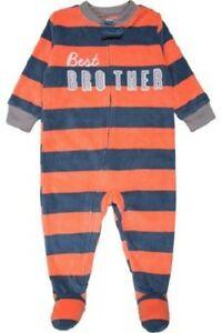 e3a529f563ae Carter s Best Brother Striped Fleece Sleeper Pajamas Baby Boy Size ...