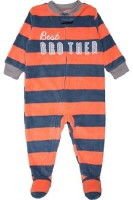 Carters Boys 12M-8 One Piece Best Brother Fleece Pajamas Orange 4