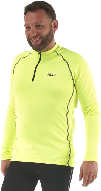 f3097976a Ridge Mens 2 Cycling Jersey Neon Fluro Yellow Thermal Large   41-43 ...