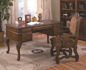 Details About Traditional Wooden Home Office Desk Arm Chair Set 2 Crown Mark Neo Renaissance