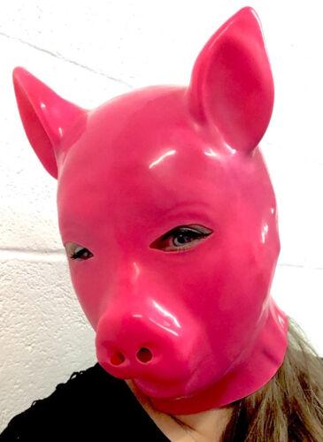 Caoutchouc Latex Rose Néon Masque Cochon Protection Complète Gomme Capuche
