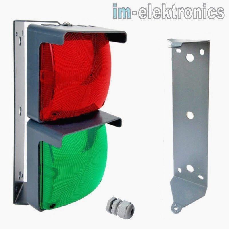 LED Ampel rot grün 24 V / 230 V Dauerleuchte Tor Antrieb Garagentor Antrieb IP65