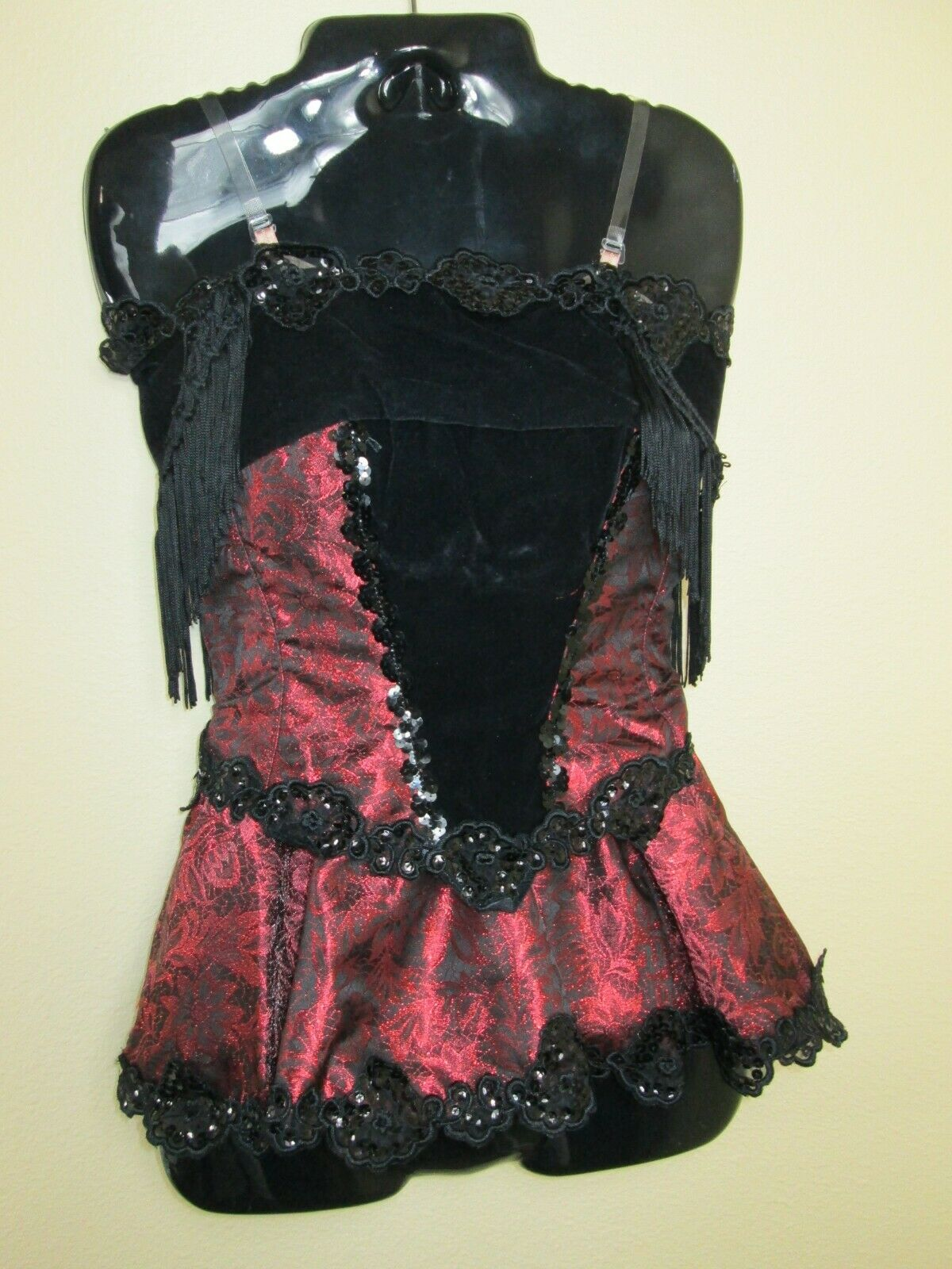 Sexy Outfit Women's Dance Wear Saloon Girl Halloween Costume Maroon Black Small