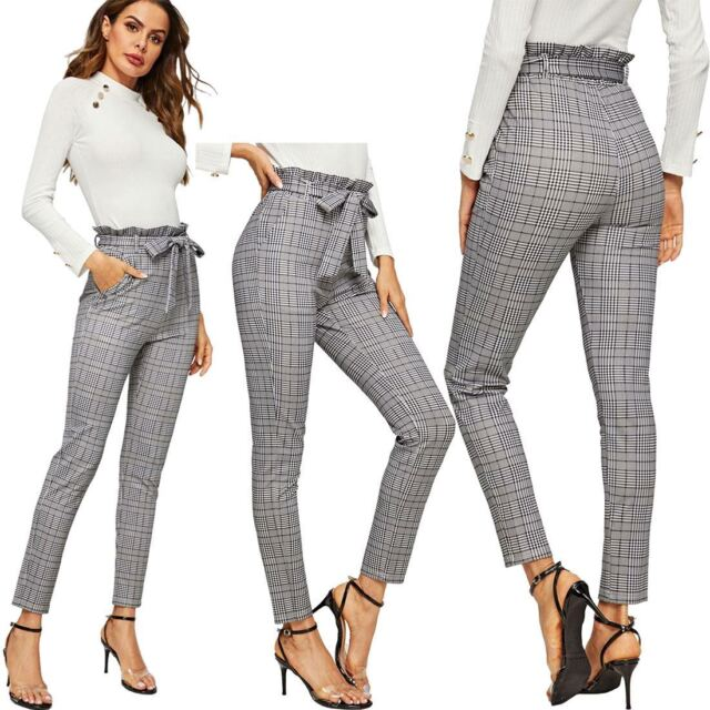 WOMENS BLACK STRIPPED HIGHWAISTED PAPERBAG S//S CULOTTE TROUSERS SIZES 6-14