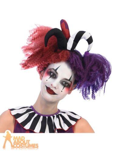 Ladies Girls Harlequin Heartbreaker Wig Jester Halloween Fancy Dress Accessory