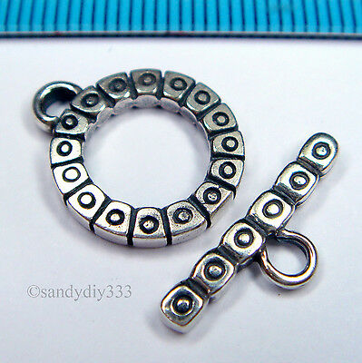 1x STERLING SILVER BALI FLOWER ROUND TOGGLE CLASP 14mm BEAD #1337