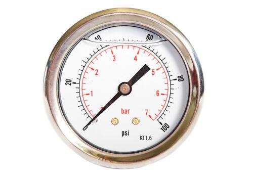 63 mm Cadran Hydraulic Glycerine Filled manomètres horizontal 30 To 10,000 PSI