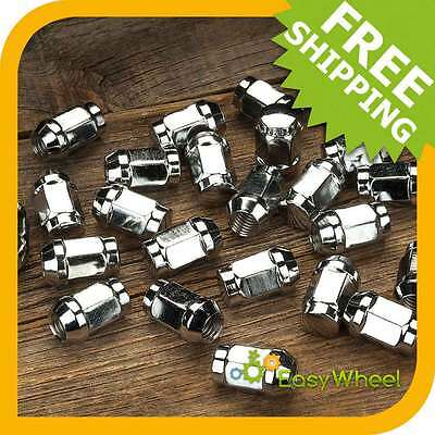 24 Chrome Closed End Bulge Acorn 14x1.5 Wheel Lug Nuts