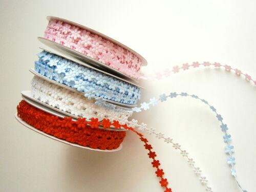 2 m Applikation Band,Borte,Blumen,Satin,Hochzeit,Taufe,7 mm,Weiß,Rot,Blau,Rosa