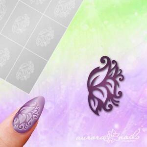 Airbrush-Adhesive-Stencils-f366-Nail-Art-Floral-Ornament-Blossom-Flower-Vine