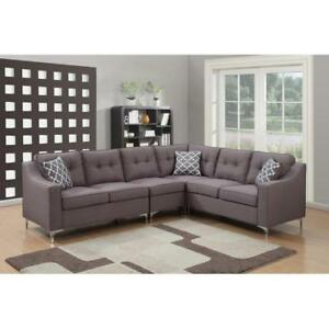 Details about Mid Century Modern Sectional Sofa Gray Modular Reversible  Living Room Set Tufted