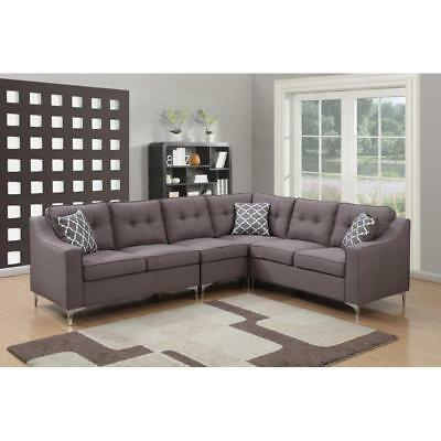 Mid Century Modern Sectional Sofa Gray Modular Reversible Living Room Set  Tufted 689000526682 | eBay