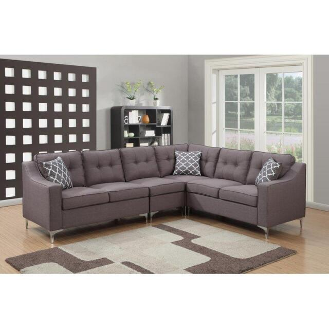 Mid Century Modern Sectional Sofa Gray Modular Reversible Living Room Set Tufted For Sale Online
