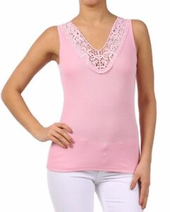 New-Women-039-s-Juniors-Casual-Sleeveless-Ribbed-Cami-Great-Layering-Lace-Tank-Top