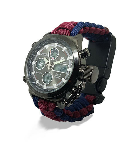 Paracord Watch in The Household Cavalry Colours For The Strap Water Resistant
