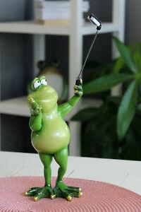 SELFIE Rana Rospo LURCH Decorazione Animale Figura Scultura rana RE fogliame Rana Gecko