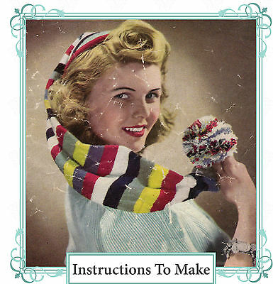 Vintage 1940s wartime jelly bag hat knitting pattern-use odds & ends,leftovers