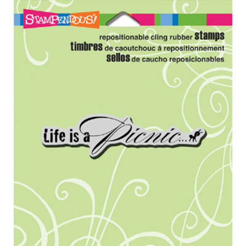 Stampendous LIFE IS A PICNIC Cling Stamp CRG126 Summer Ant Ants Summer Saying