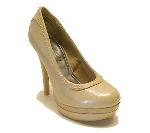 2be973f6767a5 Details about Baby Phat $49 Nude Patent Platform Pumps CHANCE Women's Shoes
