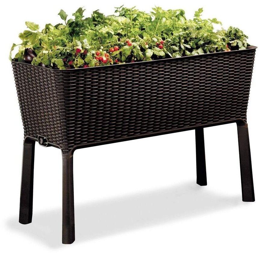 Cama elevada de jardín jardín al aire libre de resina Rectángulo indicador de agua fácil crecer
