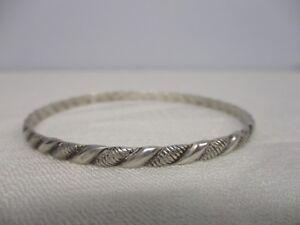 Danecraft Sterling Silver  Striped Bangle Bracelet Signed