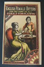 Trade Card ENGLISH FEMALE BITTERS, MEDICINE FOR FEMALE COMPLAINTS, LOUISVILLE KY