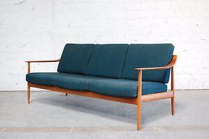 Fine knoll antimott petrol sofa 60er danish teak ebay for Sofa 60er gebraucht