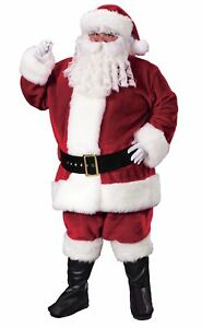Details about  /Santa Claus Suit Crimson Red Plush Adult Costume Christmas adult Large