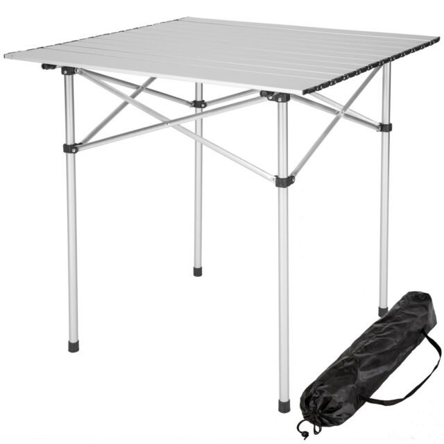 ALUMINIUM FOLDING PORTABLE CAMPING TABLE ROLL TOP PICNIC GARDEN PARTY  70x70cm