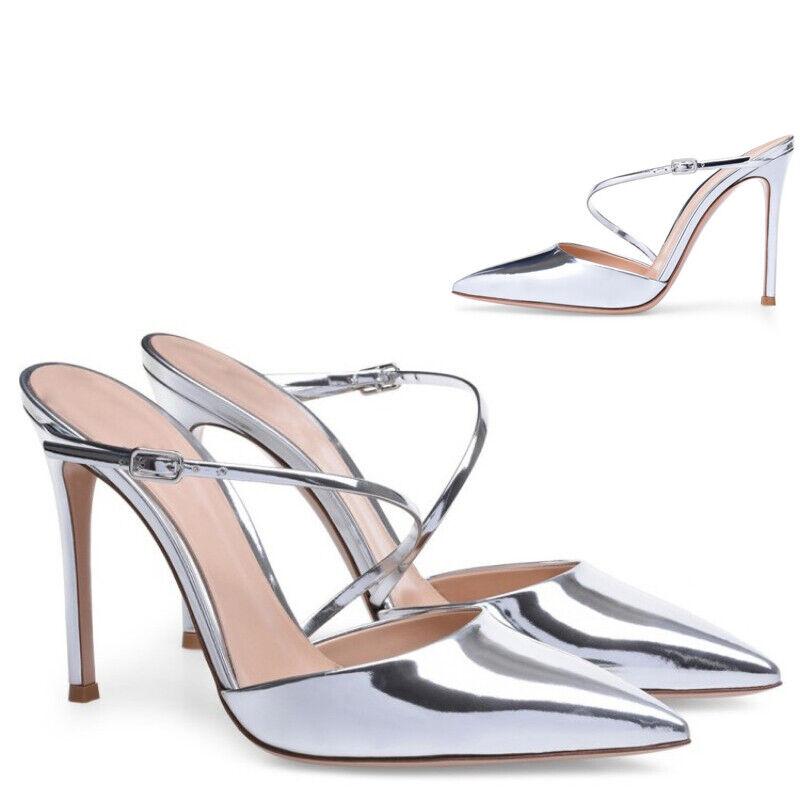 Sliver Womens High Stiletto Heel Ankle Strap Slipper Slingback shoes US 4-11.5