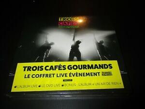 """COFFRET 2 CD + 1 DVD DIGIPACK NEUF """"TROIS 3 CAFES GOURMANDS : UN AIR DE LIVE"""""""