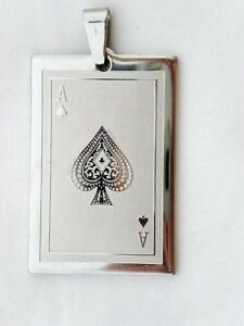 Top Casino Game Winner Spade Suit A Ace Poker Playing Card Club Pendant Necklace