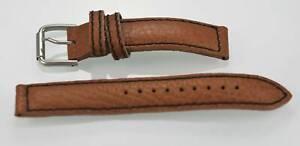 Herren-Edelstahl-braun-Leder-Ersatz-Watch-Band-18mm