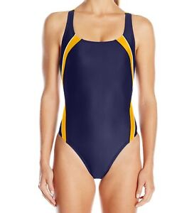 Speedo-Womens-Swimwear-Orange-Blue-Size-12-Taper-Splice-One-Piece-78-239
